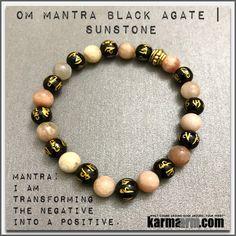 Bracelets. #LOA. Law of Attraction. womens mens I Beaded & Charm Yoga Mala I Meditation & Mantra I Spiritual   karma arm.  Sunstone OM Black Agate.