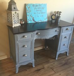 Java gel stain, custom mix of Paris Grey, Graphite, Coco Chalk Paint™, clear and white wax.