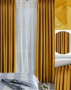 Solid Mustard Yellow Curtains Simple Minimalist Thermal Blackout Bedroom Drapes - Decorative Curtains - Ideas of Decorative Curtains Living Room Decor Curtains, Bedroom Drapes, Gold Curtains, Bedroom Decor, Mustard Yellow Curtains, Mustard Bedding, Custom Drapes, Colorful Curtains, Decorative Curtains
