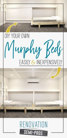 """Need a bed (or two) but don't wanna dedicate an entire room as a permanent """"bedroom?"""" DIY your own Murphy bed! Add stylish and comfy guest sleeping spaces that don't take up space all the time. Diy Furniture Decor, Furniture Projects, Furniture Makeover, Home Projects, Diy Home Decor, Diy Guest Room Furniture, Pipe Furniture, Furniture Design, Diy Projects For Bedroom"""