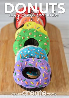 Sewing For Kids Easy Our Donut crafts for kids are easy and look real! - Our Donut crafts for kids are easy and look real! My kids love pretend play. Arts And Crafts For Teens, Art And Craft Videos, Easy Arts And Crafts, Crafts For Kids To Make, Arts And Crafts Projects, Kids Crafts, Kids Diy, Decor Crafts, Diy Projects