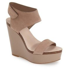 """Vince Camuto 'Kaja' Platform Wedge Sandal, 5"""" heel (7.450 RUB) ❤ liked on Polyvore featuring shoes, sandals, tauplicious, velcro shoes, vince camuto shoes, velcro sandals, leather ankle strap sandals and high heel platform sandals #sandalsheelswedge"""
