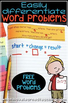 Top Ten Everyday Living Insurance Plan Misconceptions Easily Differentiate Word Problems By Problem Type And Using Different Numbers In Each Problem Throughout The Year. Utilize Small Numbers For Kinder, Medium Numbers For First Grade And Larger N Math Problem Solving, Math Words, Math Strategies, Math Word Problems, Second Grade Math, Math Journals, Guided Math, Student Teaching, Math Classroom