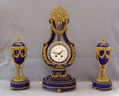 French Ormolu and Blue Cobalt lyre clock and vase set ca 1875