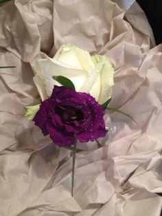 Men's buttonhole, Avalanche Rose with Purple Lisianthus