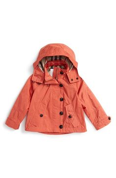 Burberry 'Halina' Hooded Rain Jacket (Little Girls & Big Girls) available at #Nordstrom