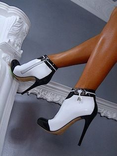 Classy and Elegant Black and White High Heeled Booties