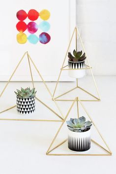 Today's DIY came about because I was attempting to declutter and found a giant stash of brass tubing from my last himmeli project, and I just happen to have 80 succulents who need homes, Do It Yourself Quotes, I Spy Diy, Geometric Decor, Idee Diy, Diy Garland, Succulents Diy, Succulent Planters, Pots, Diy Home Decor
