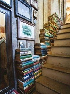 Books on the stairs