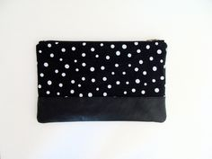 Polka Dots Small Zip Clutch / Milk Haus Design
