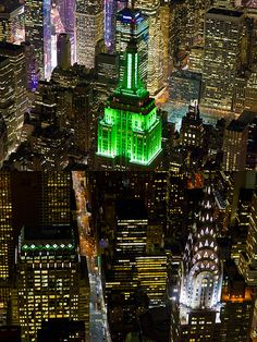 """Gotham City ~ must be St. Paddy's Day ~ the Empire State building is Green! (FYI: St. Patrick's Day is NEVER St. """"Patty's"""" Day!! So many people make that dumb glaring mistake!)"""