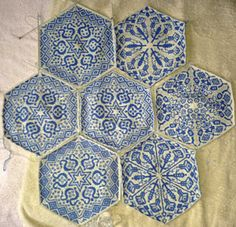 1402157193532_small2 Persian Dreams Pattern by Jenise Reid - knitted white & blue hexagons