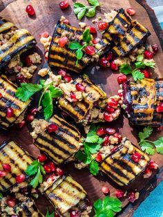 Aubergineruller med valnøtter og granateple Kung Pao Chicken, Eggplant, Nom Nom, Veggies, Cooking, Ethnic Recipes, Istanbul, Food, Kitchen