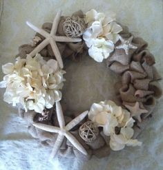 pretty wreath to make for a beach theme patio or bathroom...love the colors~