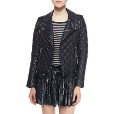 IRO Keroa Quilted Leather Moto Jacket (105.985 RUB) via Polyvore featuring outerwear, jackets, navy, motorcycle jacket, quilted leather biker jacket, belted jacket, asymmetrical zip jacket и navy quilted jacket