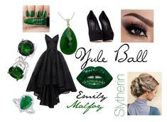 """Emily Malfoy's Yule Ball"" by x-emily-herondale-x ❤ liked on Polyvore featuring HUISHAN ZHANG, Lime Crime, NOVICA, Blue Nile, Bling Jewelry and Giuseppe Zanotti"
