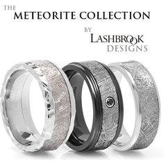 """Imagine a 4 billion year old Gibeon Meteorite on your finger! Lashbrook Designs, known for their magic touch with contemporary earth metals, has created a collection of extraterrestrial rings. Their amazing meteorite rings - using authentic 4 billion year old Gibeon Meteorite - are conversation starters (and stoppers!) Each ring is hand made in the USA and no two are exactly alike as the patterns (for you techies, the """"Widmanstatten"""" lines) are unique on each ring. #TitaniumJewelry"""