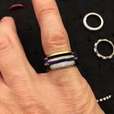 I love how those 3 rings really stack well together! From top to bottom, the Deco ring in yellow gold and black enamel, another Deco ring with Lapis Lazuli inlay and diamond pave 😚👌🏻 and the Duca ring with Onyx inlay and diamond pave Better Together, Black Enamel, Lapis Lazuli, Deco, Yellow, Diamond, My Love, Rings, Gold