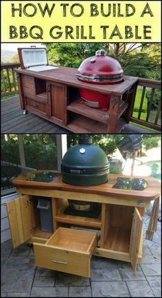 Make Barbecue Parties More Enjoyable in Your Backyard by Building a DIY Barbecue Grill Table! Barbecue Grill, Grill Diy, Grilling, Bbq Kitchen, Diy Outdoor Kitchen, Backyard Kitchen, Outdoor Kitchens, Table Grill, Grill Cart
