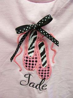 Custom Applique Ballet Shoe Design with Polka dot sequins & Zebra Fabric!!