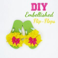 See how easy it is to embellish those plain flip-flops!  maybe a good birthday party activity?