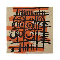Sgraffito III - Textile Panel Sgraffito, Natural Linen, Printmaking, Screen Printing, Mid Century, Textiles, Ceramics, Canvas, Drawings