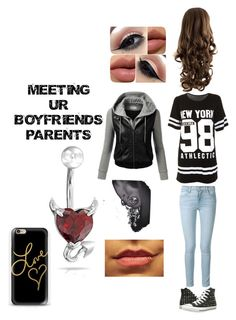 """""""Meeting your boyfriend's parents"""" by briruiz ❤ liked on Polyvore featuring Frame Denim, Converse, J.TOMSON, Casetify and Bling Jewelry"""