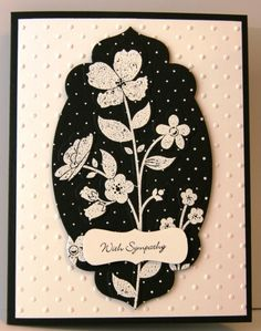 handmade card ... Wildflower Meadow ... Black and White ... like the die cut shape using only part of the image for a new look ... Stampin' Up!