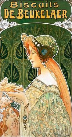 """""""Biscuits De Beukelaer"""" Art Nouveau poster by Henri Privat-Livemont Posters Vintage, Vintage Advertising Posters, Retro Poster, Vintage Advertisements, Art Nouveau Mucha, Art Nouveau Poster, Design Art Nouveau, Motif Art Deco, Belle Epoque"""