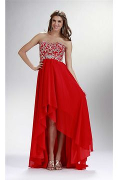 Fashion High Low Strapless Corset Red Chiffon Beaded Prom Dress