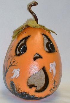 Halloween JackOLantern LightUp Gourd  Hand by FromGramsHouse, $38.00