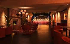 render of commercial interior. Bar and Lounge area. 3d Interior Design, Interior Rendering, Lounge Areas, Commercial Interiors, Chandelier, Design Ideas, Ceiling Lights, Bar, Lighting