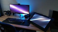 My new workspace !  #desk #gaming #Cintiq #wacom #battlestation #workspace #DigitalArt #Art #draw