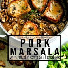 Pork Marsala with Mushrooms and Shallots Recipe Pork Recipes, New Recipes, Cooking Recipes, Dinner Recipes, Favorite Recipes, Pork Marsala, Marsala Wine, Boneless Pork Ribs, Shallot Recipes