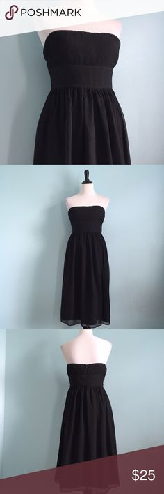 Silk J. Crew Black Dress Beautiful silk black strapless dress. Size 12 by J. Crew. In great condition, however, there are some small runs on a couple places, but none are visible when worn. Great for any special occasion! J. Crew Dresses Strapless