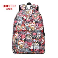 US  20.39 49% OFF WINNER Japan Style Cartoon Robot Waterproof Backpacks  2017 Female Printing Unique Design Casual Student Teenagers Book Bags-in  Backpacks ... b334a0d2a7