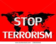 Stop terrorism,world map, and red background - stock photo