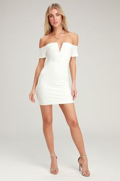Sexy White Dress - Off-the-Shoulder Dress - White Bodycon Dress Sexy White Dress, White Cocktail Dress, Short Cocktail Dress, Classy Dress, Cocktail Dresses, White Dresses For Women, Little White Dresses, Robe Bodycon, Bachelorette Outfits