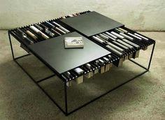 /-\ coffee table with bookshelf