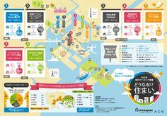 東京オリンピック開催決定によって不動産がどのように変化するかを考察したインフォグラフィックです。競技場が集まる湾岸エリアに注目し、不動産のプ...