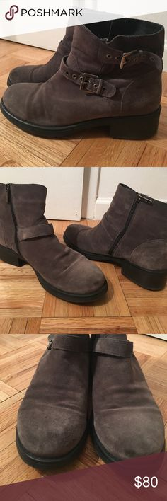 Aquatalia Grey Suede Boots Aquatalia Marvin K grey suede boots with buckles 1.5inch heel. Worn many times. Small discolored spot near toe. Aquatalia Shoes Combat & Moto Boots