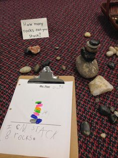 Wonders in Kindergarten: Rock stacking. Great plan and follow-up writing!