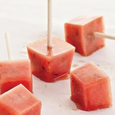 Minted Watermelon Popsicles from Kitchen Daily - Summer favorites- watermelon and popsicles- get wrapped up in one! Found at www.edamam.com.