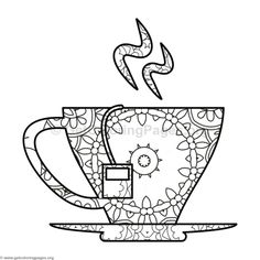 470 Best Coffee Tea Coloring Pages For Adults Images In 2019