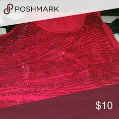 Red sequined tank Dressy tank George Tops Tank Tops