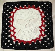 """Granny crocheted herself to death!  Here's proof.   Granny's Skull 10"""" Afghan Square pattern on Ravelry for $3.99 - Crochet Skull Applique pattern included."""