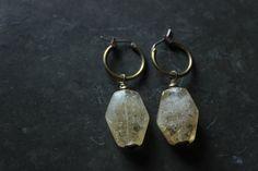 Citrine earrings gold,Citrine crystal,Citrine dangle earrings,brass earrings,small hoop earrings,gemstone earrings,minimal earrings,yellow by xuanqirabbit on Etsy