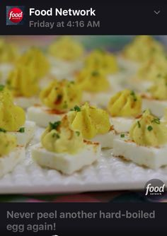 Square Deviled Eggs Forget about peeling shells the next time you make deviled eggs! In this fun, square version, whites and yolks are separated, cooked individually and then brought back together to taste just like the original. Snacks Für Party, Appetizers For Party, Appetizer Recipes, One Bite Appetizers, Recipes Dinner, Thanksgiving Recipes, Holiday Recipes, Easter Recipes, Food Network Recipes