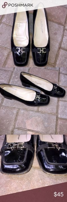 """Salvatore Ferragamo black patent leather loafers Salvatore Ferragamo black patent leather loafers with silver buckle. Size 8. Narrow fit, heel height is 1"""". Salvatore Ferragamo Shoes Flats & Loafers"""