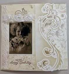 anja's border elegant lr0344 - Google Search Making Greeting Cards, Marianne Design, I Card, Projects To Try, Shabby Chic, Birthdays, Card Making, Happy Birthday, Fancy